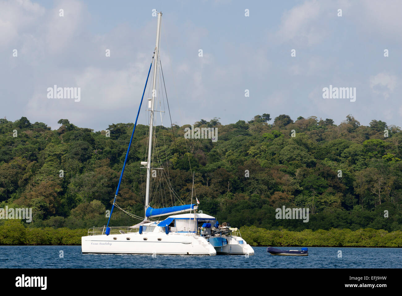 Sailing boat at Peaceful shot overlooking Dolphin Bay in Bocas del Toro, Panama. Tropical Rain Forest in Bocas del - Stock Image