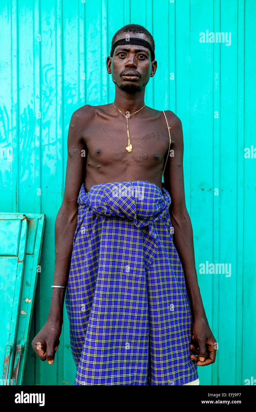 Portrait Of A Man From The Mursi Tribe, Jinka, Omo Valley, Ethiopia - Stock Image