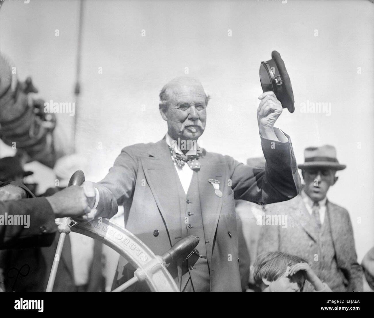 Antique 1909 photograph, Sir Thomas Lipton aboard a yacht in United States. Sir Thomas Johnstone Lipton, 1st Baronet, - Stock Image