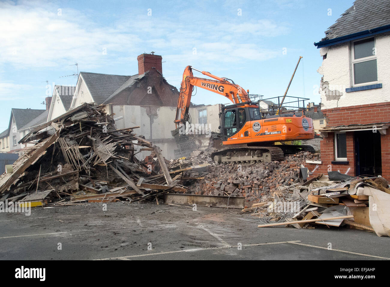 Aberystwyth, Wales, UK. 5th February, 2015.  A grandmother's home has been demolished to make way for two retail - Stock Image
