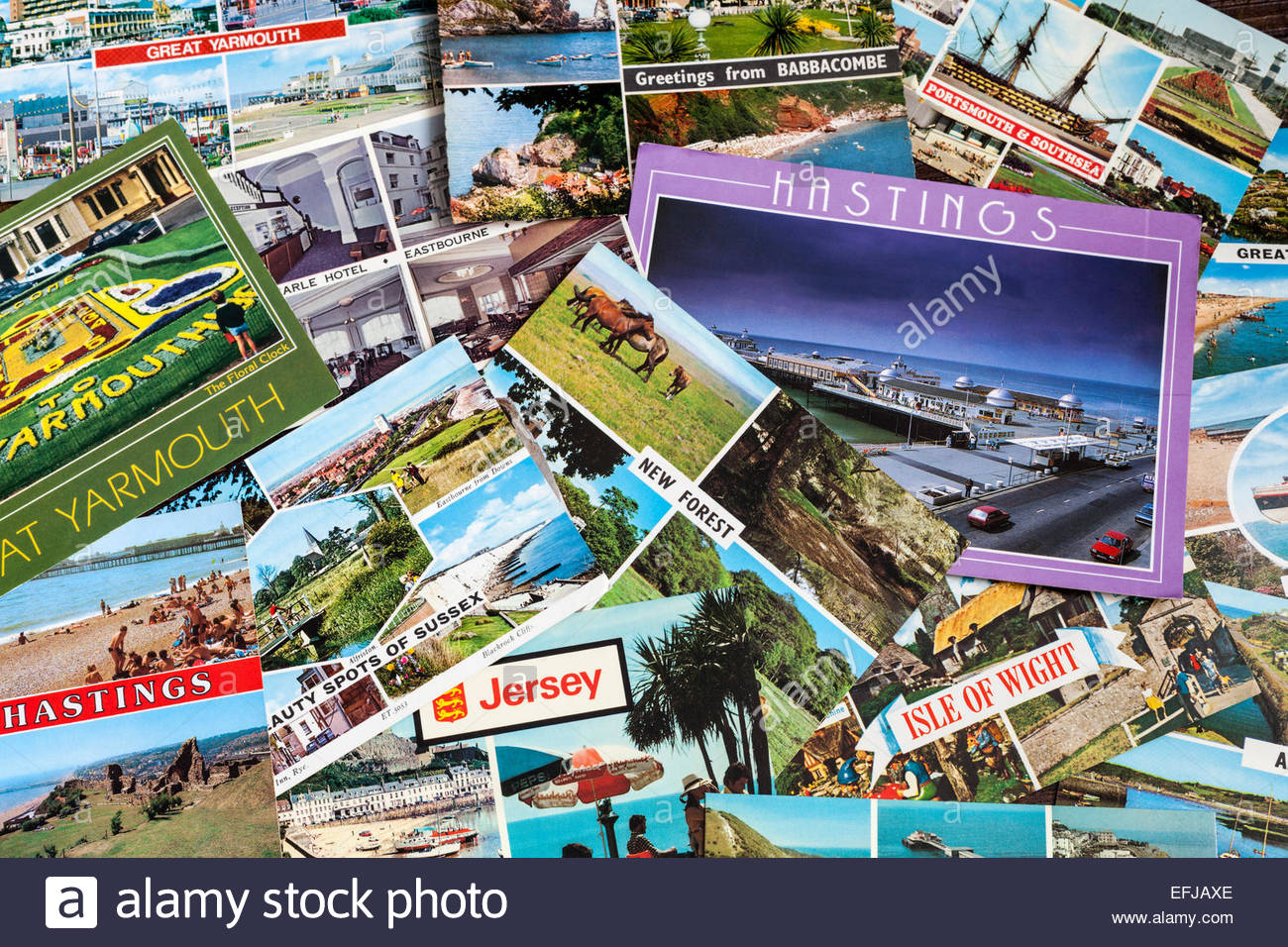 Collection of old postcards - Stock Image