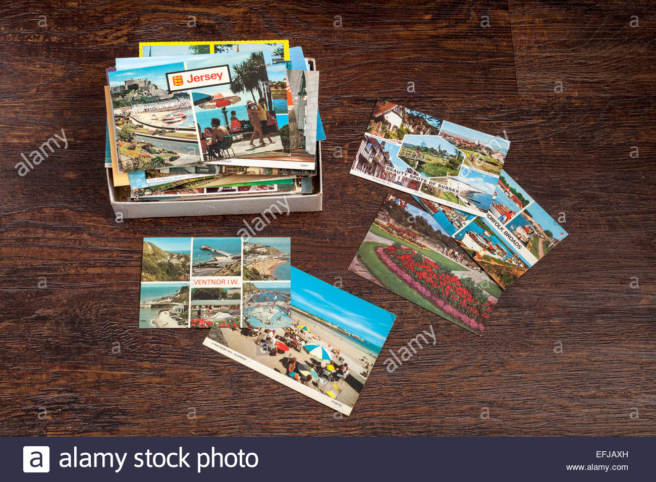A collection of old postcards - Stock Image