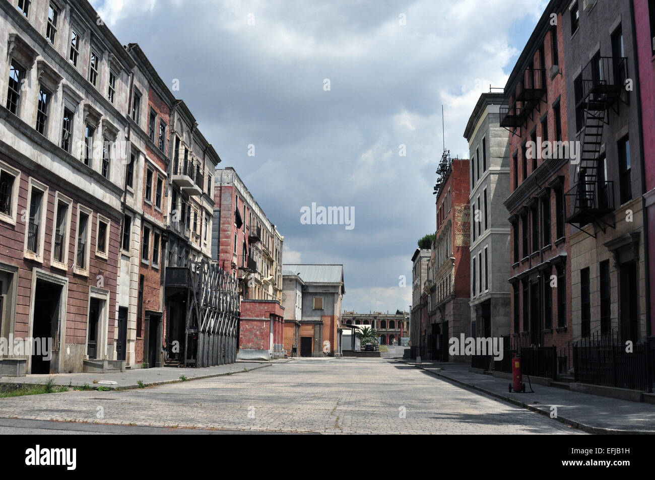 Scenery for the film Gangs of New York by Martin Scorsese at the studio Cinecitta - Stock Image