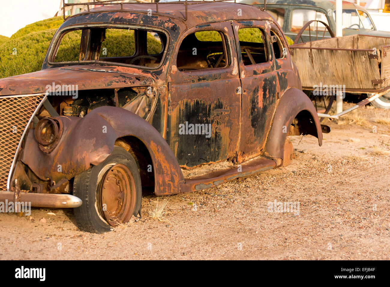 December 21, 2014 - Wigwam Hotel, Holbrook, AZ, USA: time period vehicles parked in front of the historic hotel - Stock Image