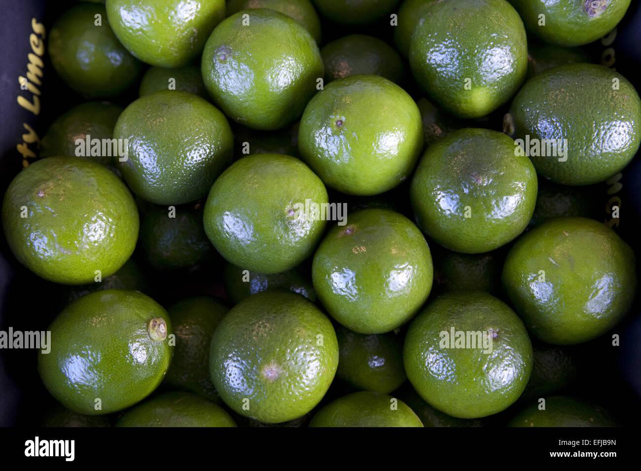Fresh limes on market stall - Stock Image