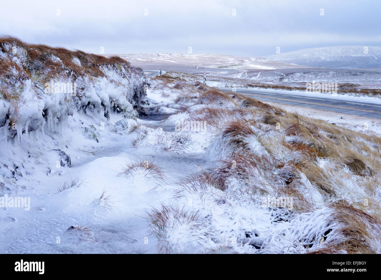 Upper Teesdale in Snow. - Stock Image