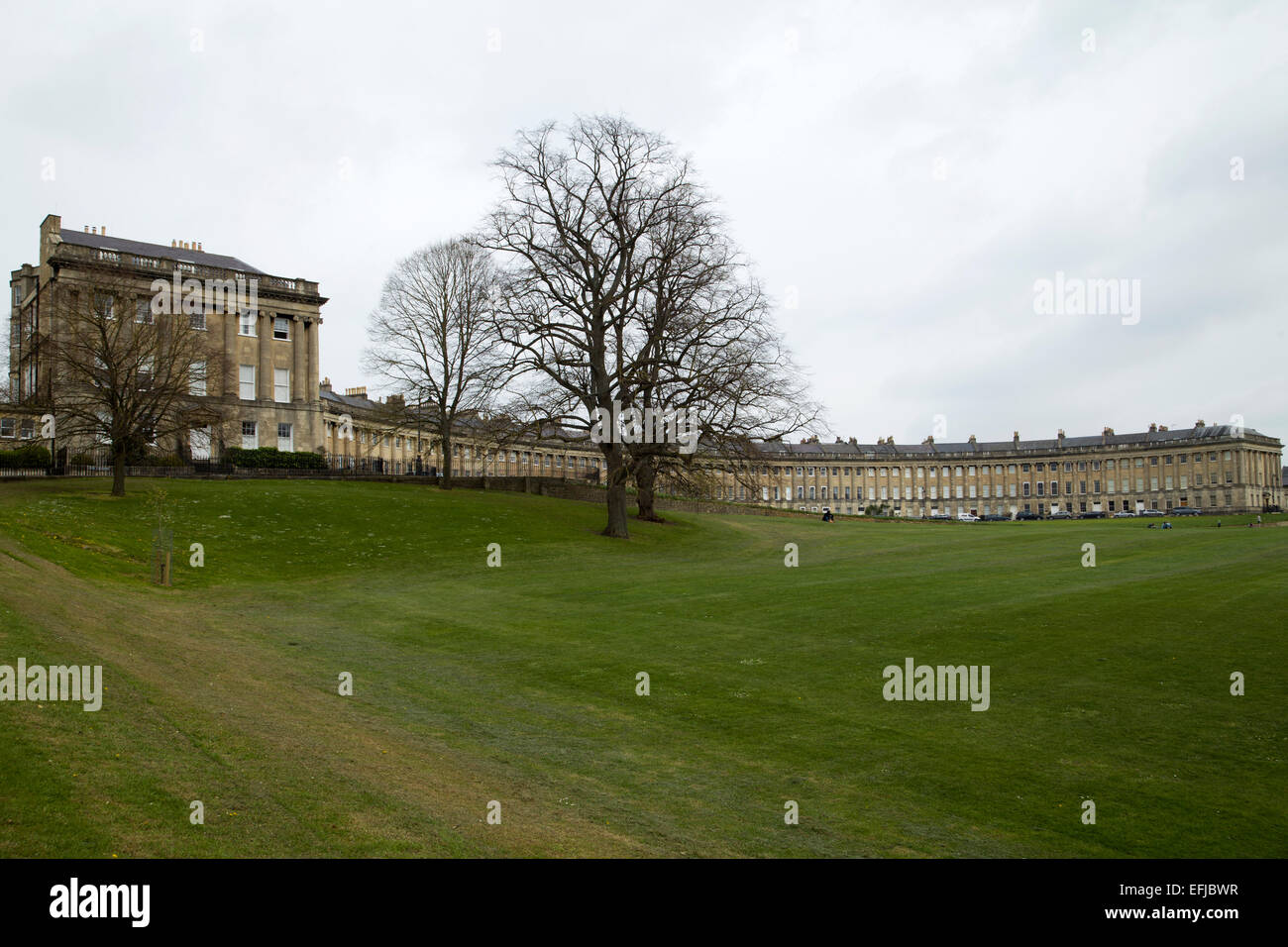 Royal Cresent Bath England from Victoria Park. - Stock Image