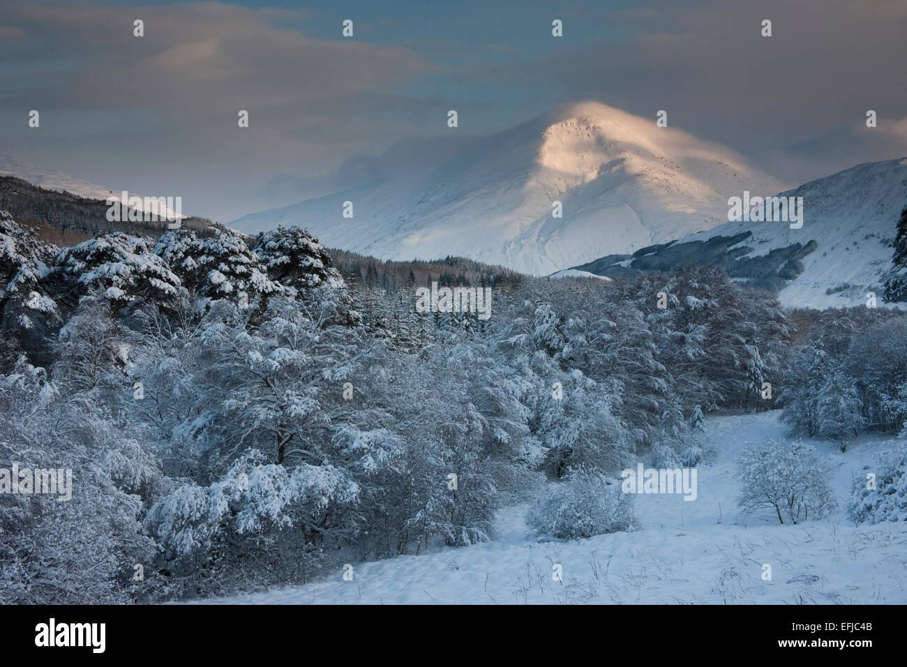 Winter view of Ben More, Crianlarich, Highlands - Stock Image