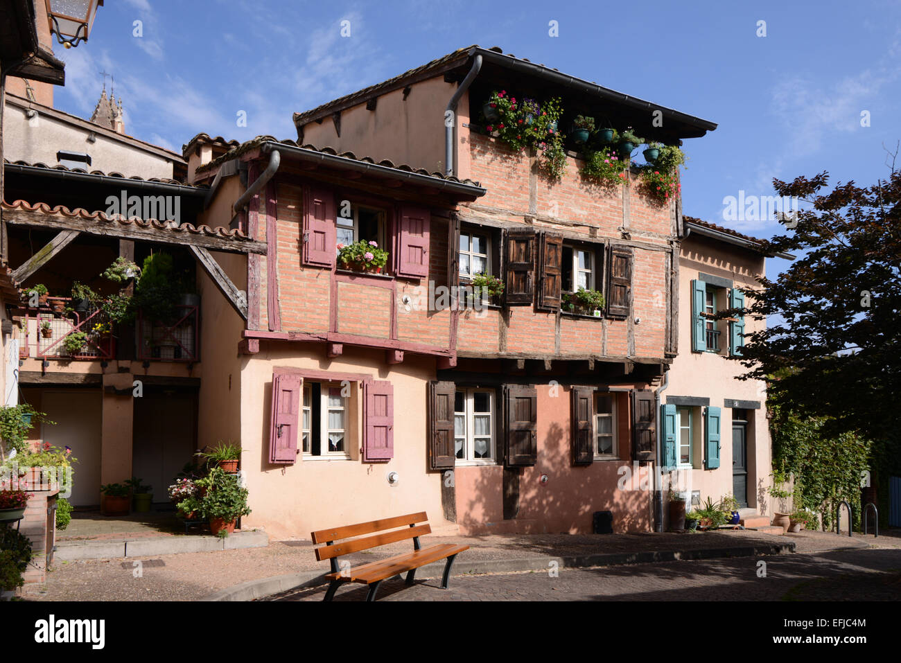 Town Houses & Public Square in the Old Town Albi Tarn France - Stock Image
