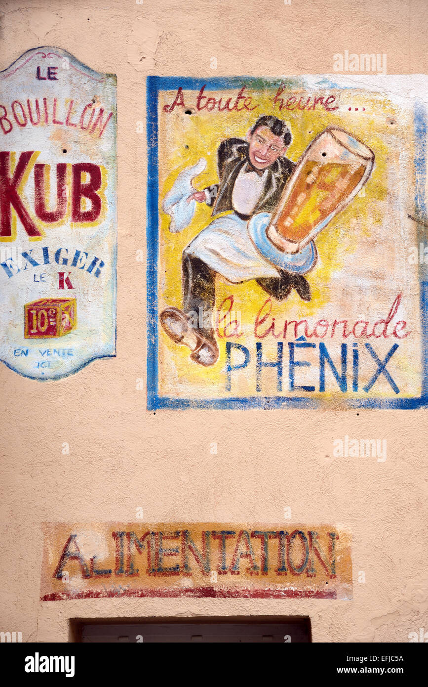Old Wall Painting Advert Showing Waiter Serving Lemonade in a Café Bistro or Bar Aix-en-Provence Provence France - Stock Image
