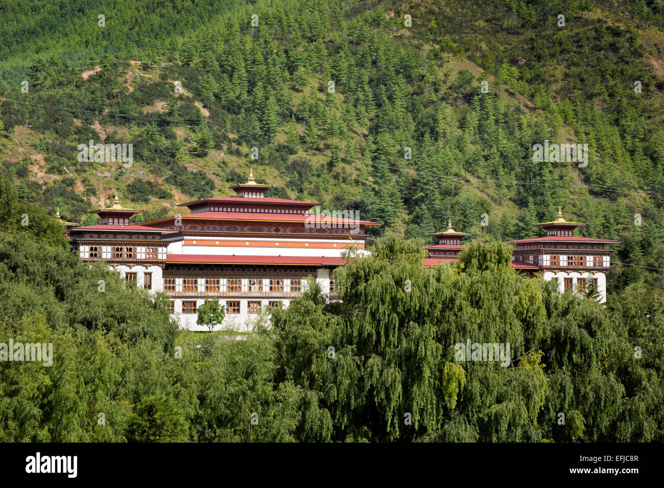 BU00020-00...BHUTAN - Government buildings in the capital city in Thimphu. - Stock Image