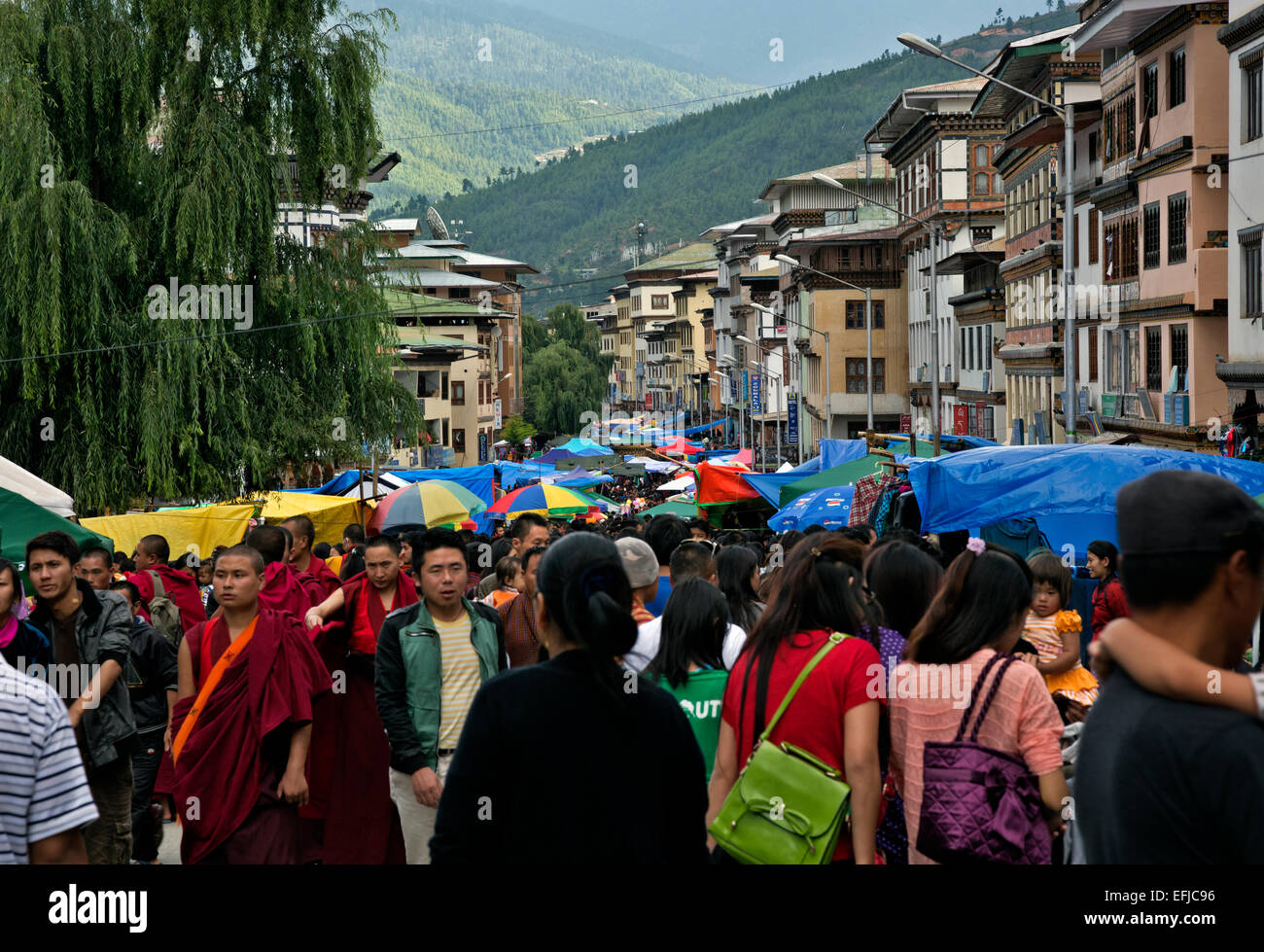 BHUTAN -  Special festival market during the annual Thimphu Tsechu (festival) draws a huge crowd of local people - Stock Image