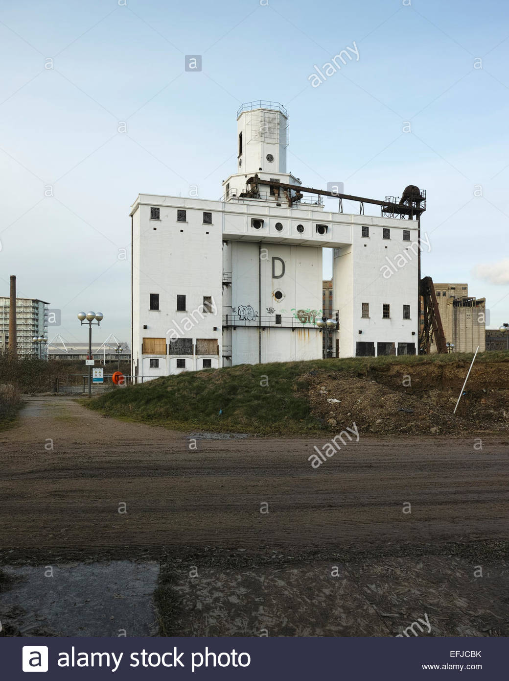 Silo D (concrete grain store) no longer in use since the closure of the Royal Docks: West Silvertown, London. - Stock Image