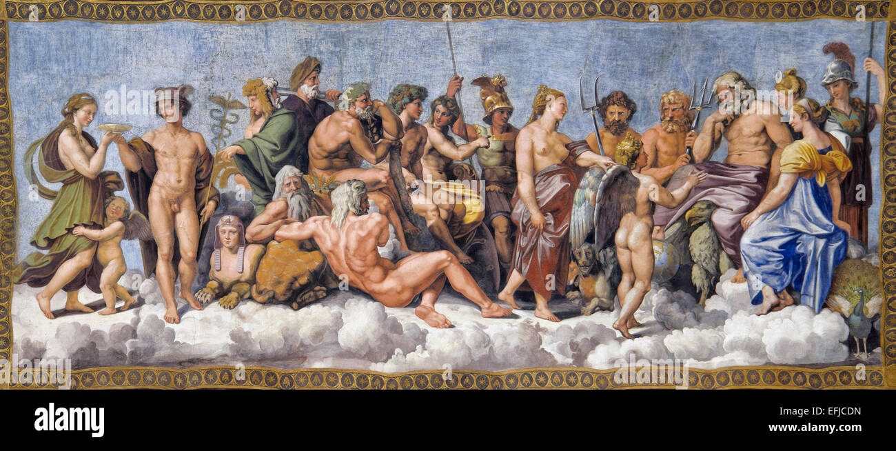 The gods of Olympus by Raphael¡s school - Stock Image