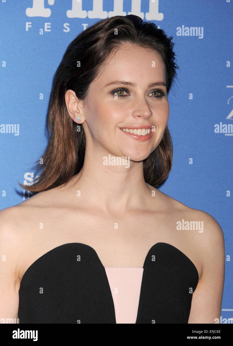 FELICITY JONES English film actress in January 2015. Photo Jeffrey Mayer - Stock Image