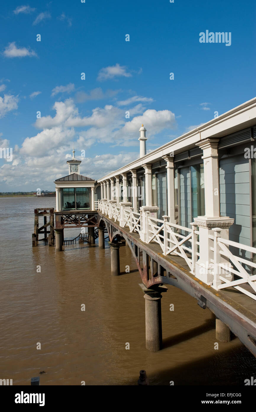 The old pier at Gravesend Kent. The pier is the oldest surviving cast iron pier in the world. Built in 1834 it fell - Stock Image