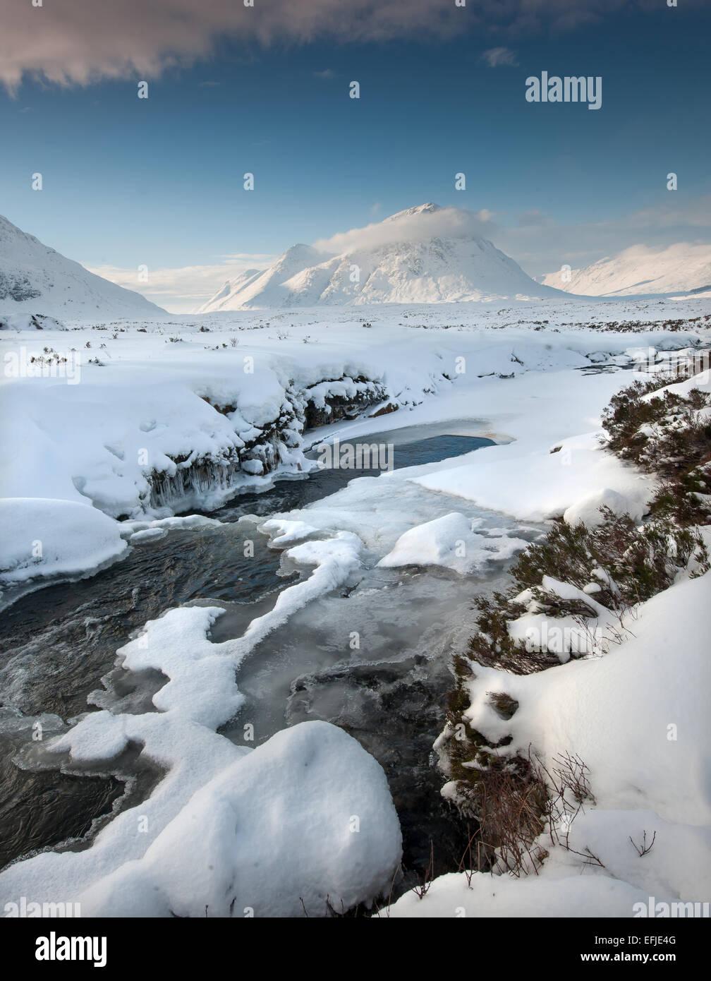 Winter view towards Buachaille Etive Mhor, Glencoe, West Highlands - Stock Image
