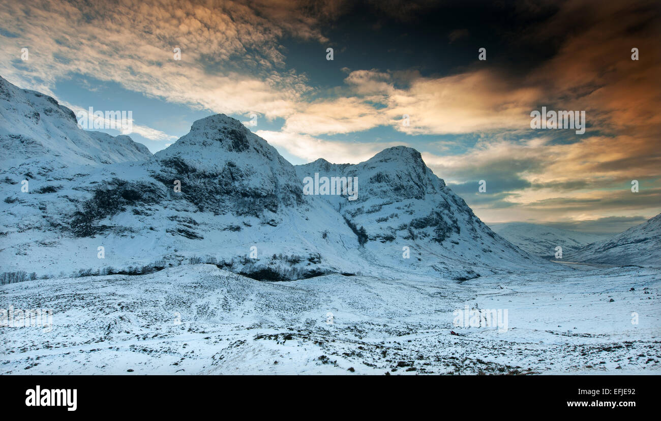 Winter view of the two Sisters of Glencoe, Highlands - Stock Image