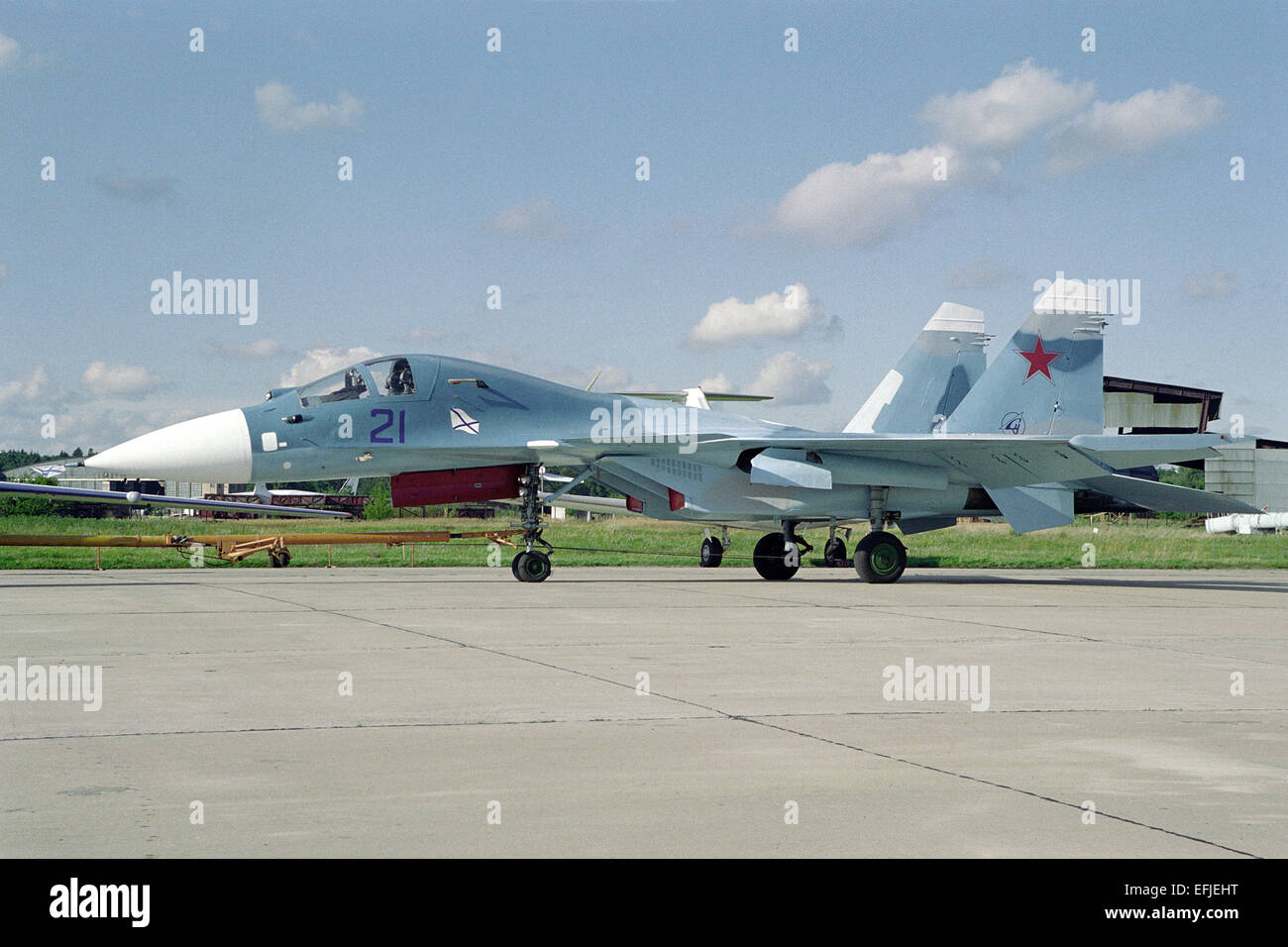 Carrier-based combat trainer aircraft Sukhoi Su-27KUB - Stock Image