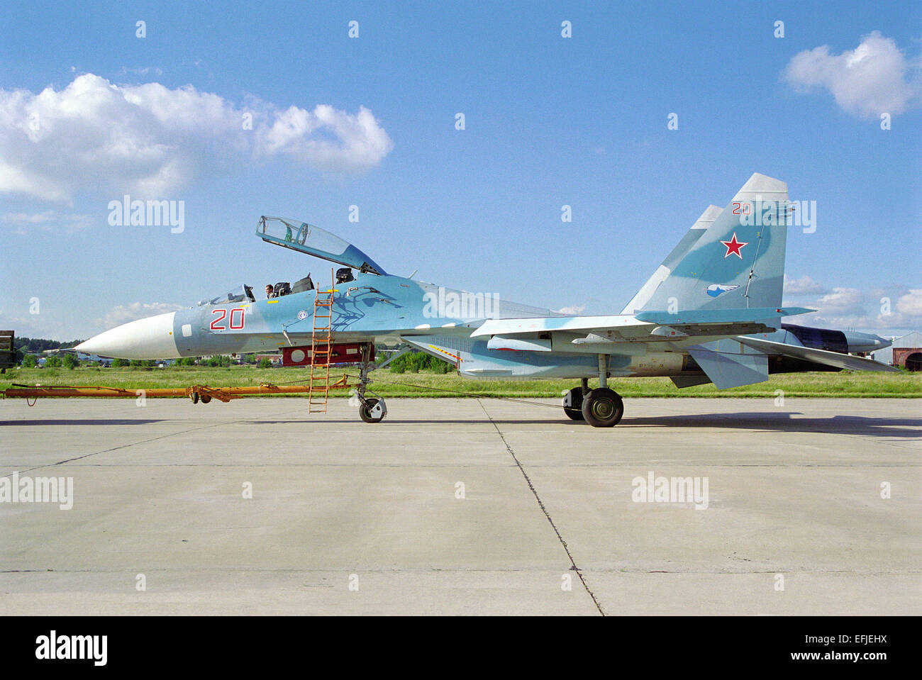 Sukhoi Su-27UB air superiority fighter Stock Photo