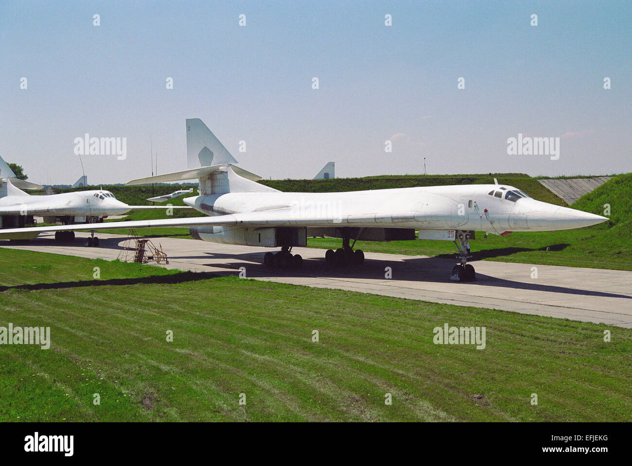 Strategic bomber Tu-160 stored at Pryluky - Stock Image