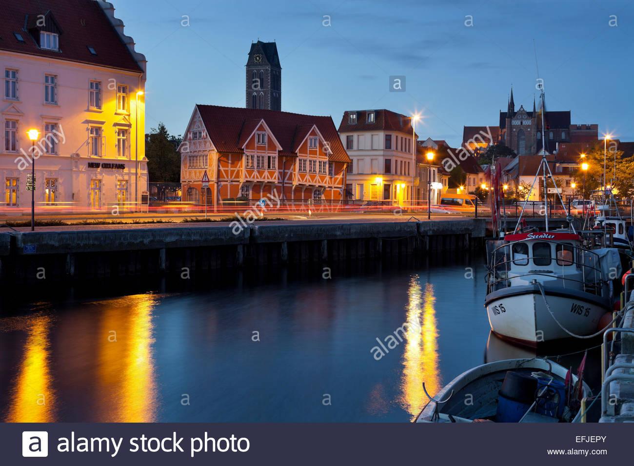 Old harbour, St. Marien, Wismar, Mecklenburg-Vorpommern, Germany - Stock Image