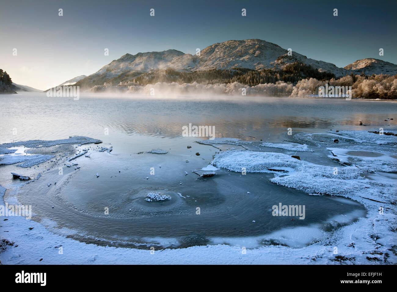 Winter scene on Loch Shiel, Lochaber - Stock Image