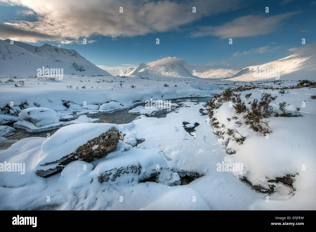 Winter view of Buachaille Etive Mhor, Glencoe, West Highlands - Stock Image