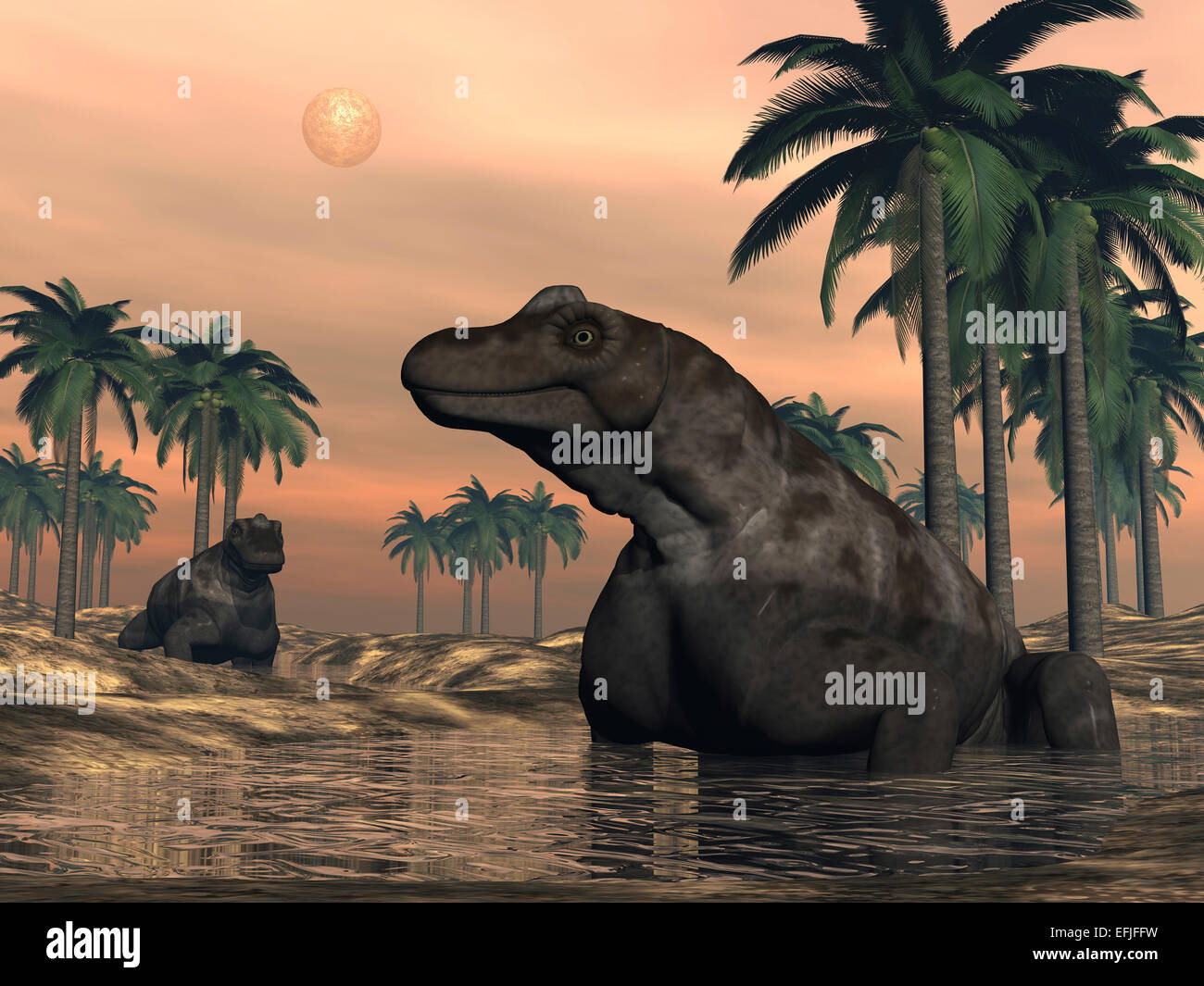 Keratocephalus dinosaurs in a small lake at sunset. - Stock Image