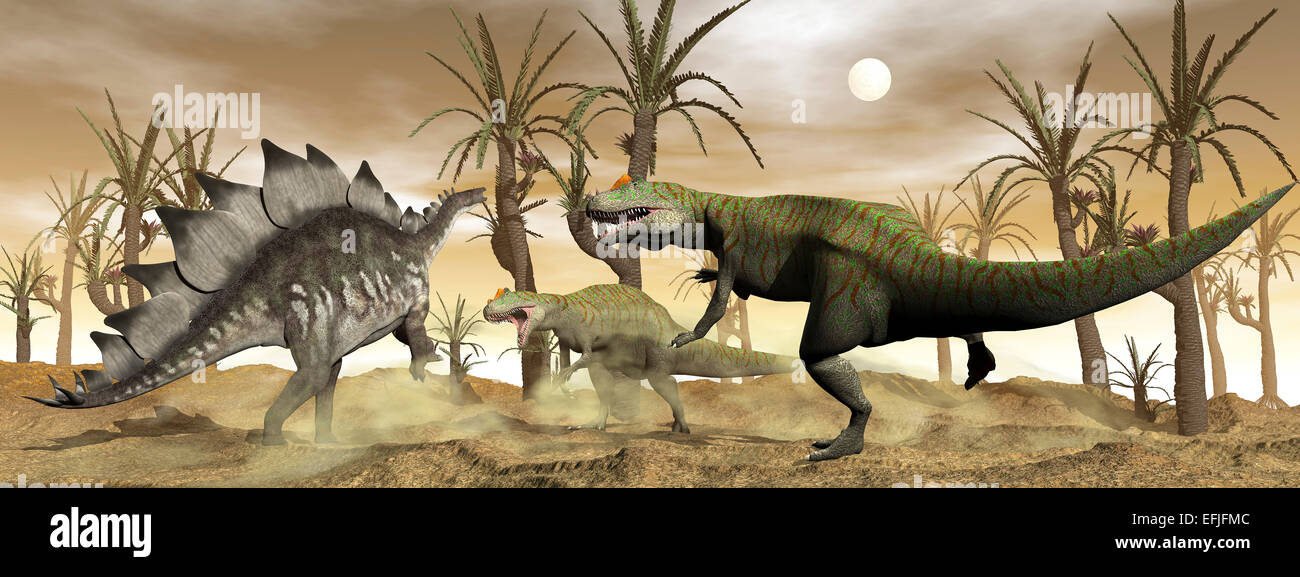Two Allosaurus dinosaurs attack a lone Stegosaurus in the desert. - Stock Image