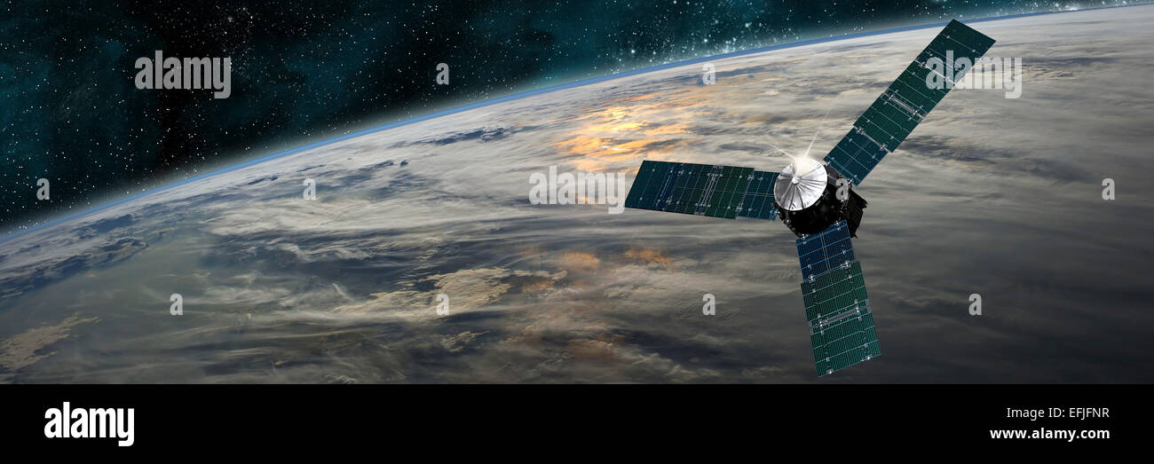 A space probe investigates a beautiful cloud covered planet in outer space. Clouds swirl over the planet's surface - Stock Image