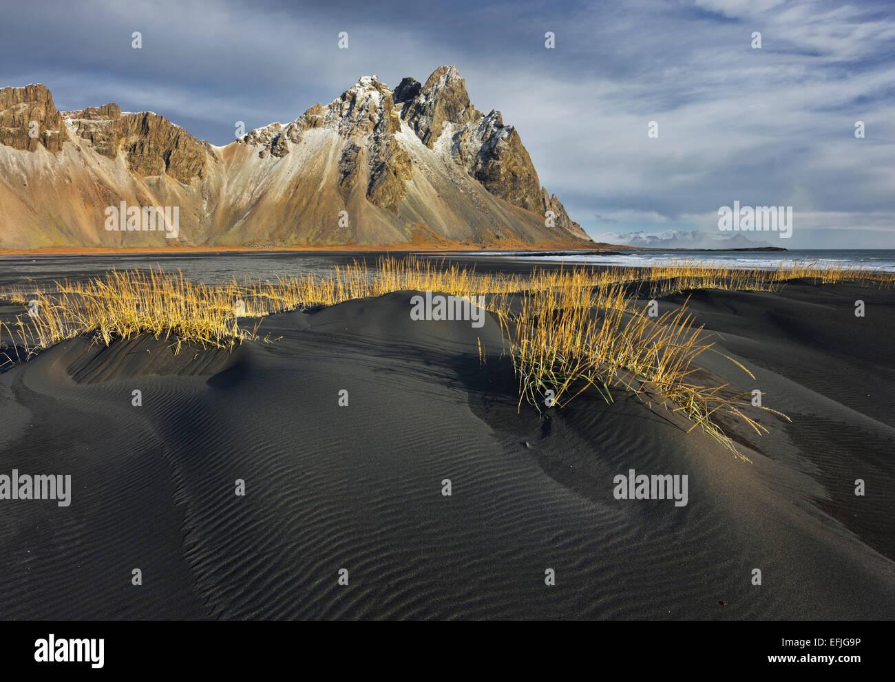 Black Sand, Kambhorn, Stokksnes, Hornsvik, East Iceland, Iceland - Stock Image