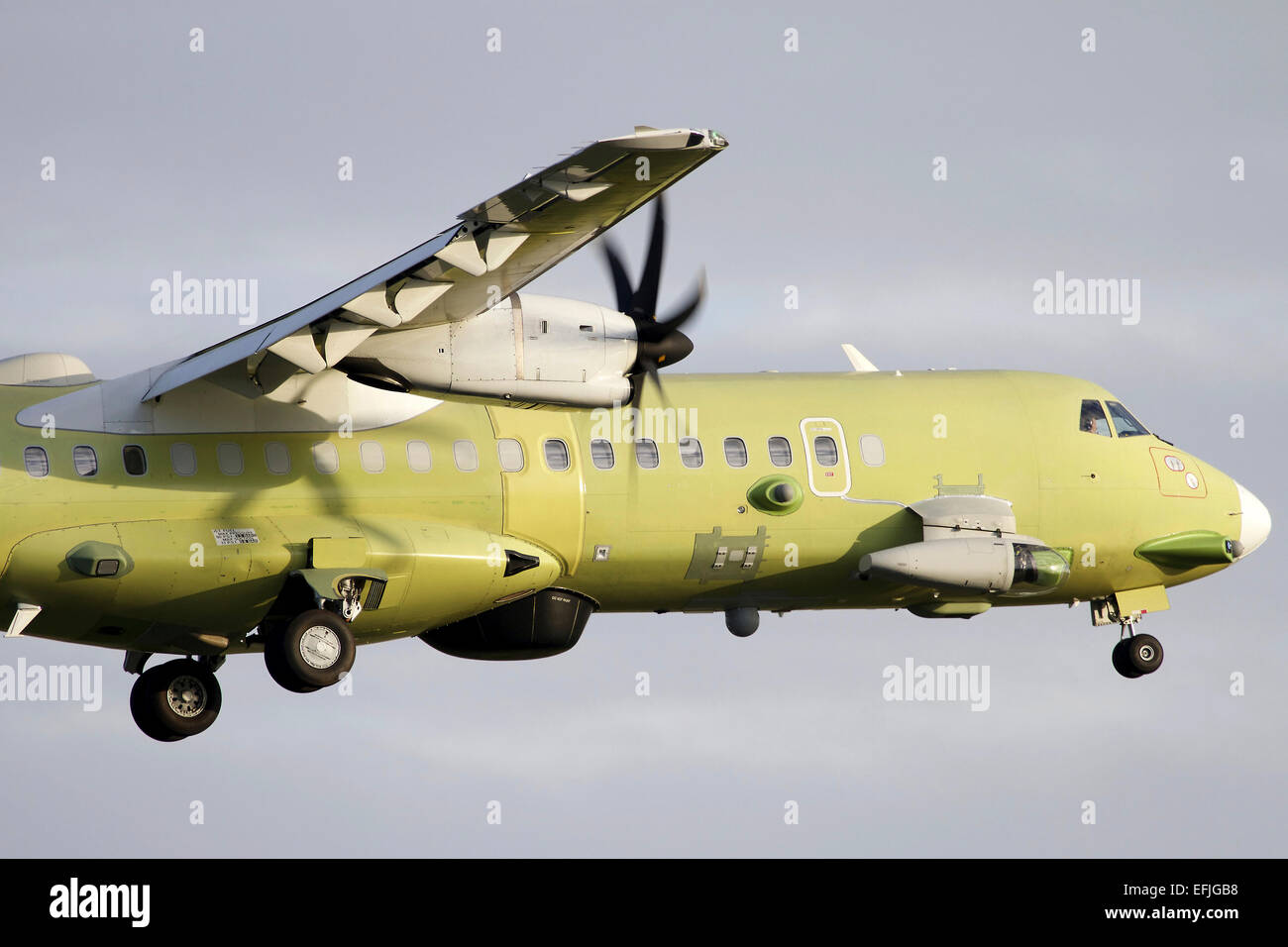 An ATR 72-600 MP (Maritime Patrol) aircraft of the Italian Air Force flying over Italy. - Stock Image