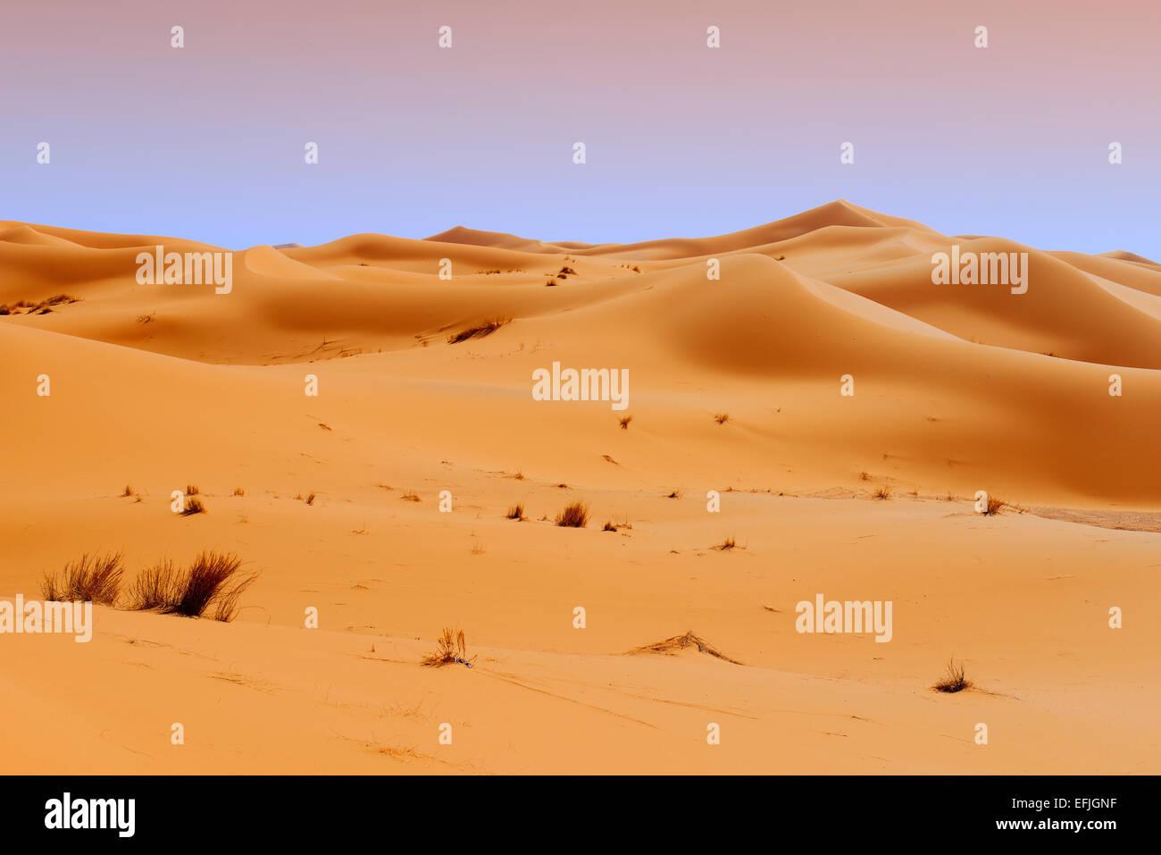 Merzouga, Erg Chebbi, Merzouga sand dunes, Sahara Desert, Morocco, Maghreb, North Africa - Stock Image
