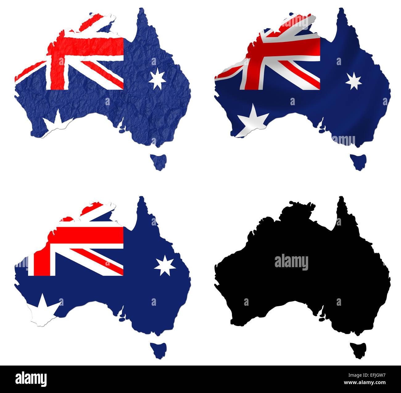 Australia flag over map - Stock Image