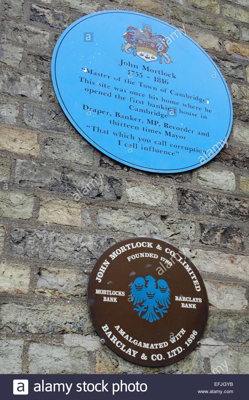 Blue plaque indicating the site of the first banking house (bank) in Cambridge, England - Stock Image