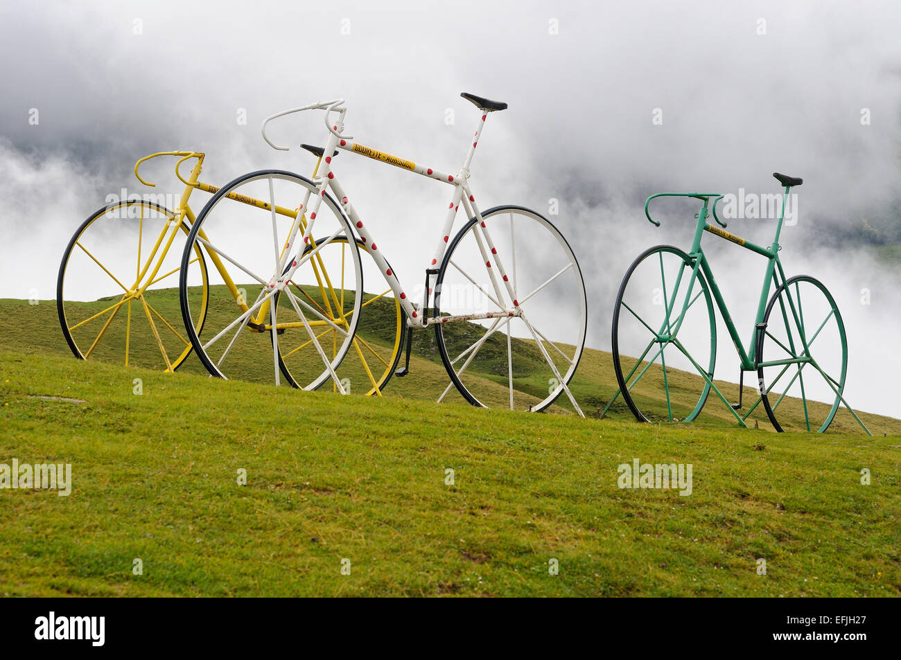 Three bicycles art on the Col D'Aubisque (1709m), Pyrenees (France), representing the three main Tour de France Stock Photo