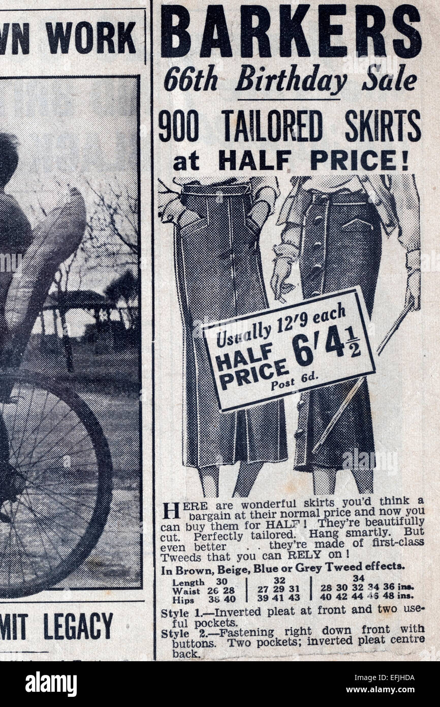 newspaper advertisement cutting from the late 1930s early 1940s for barkers tailored skirts - Stock Image