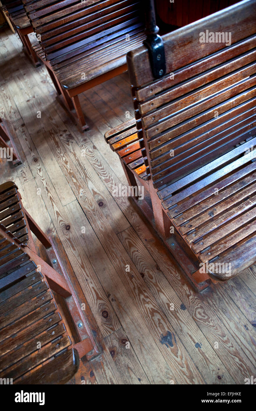 Brilliant Wooden Benches In An Old Train Stock Photo 78470322 Alamy Machost Co Dining Chair Design Ideas Machostcouk