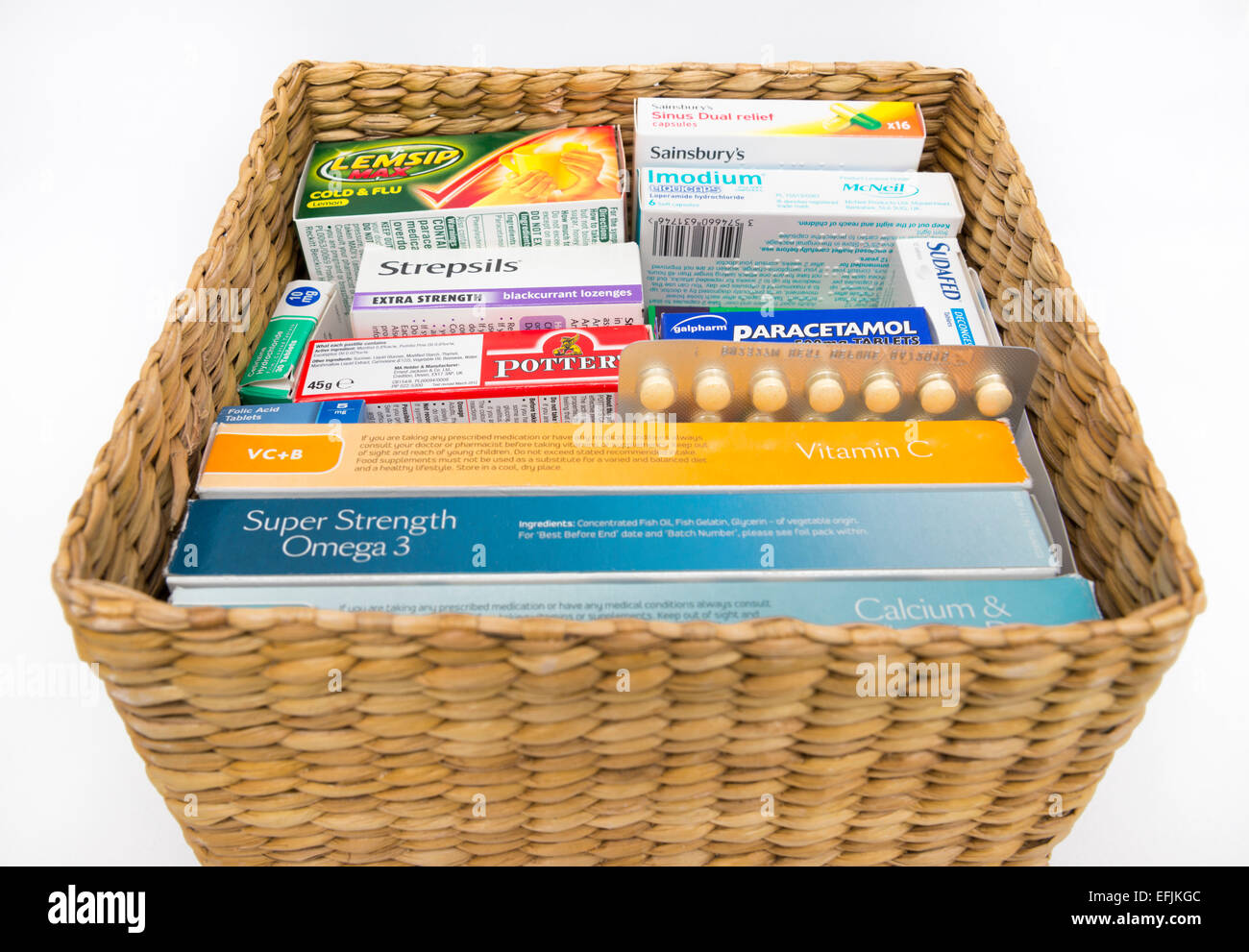 A basket of vitamins, remedies and medicine. - Stock Image