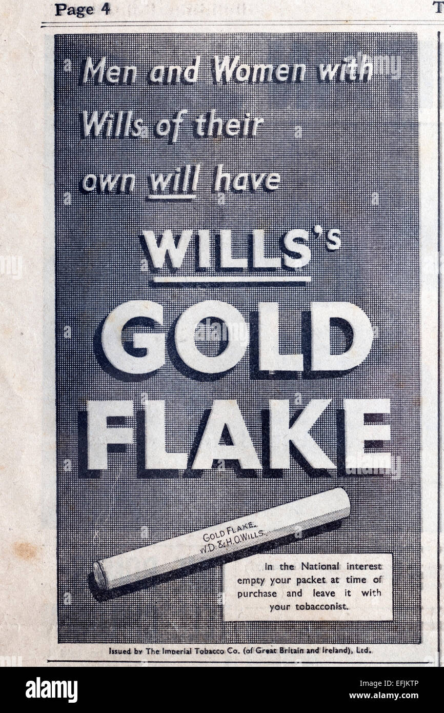 newspaper advertisement cutting from the late 1930s early 1940s for wills gold flake cigarettes - Stock Image