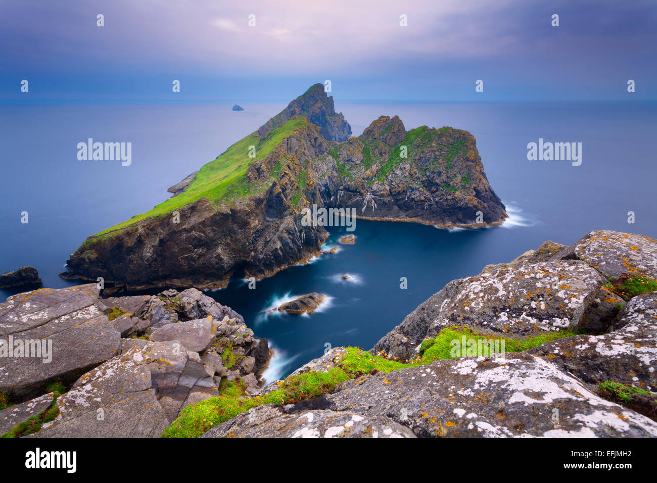 Dun at sunset, as seen from the cliffs on Ruaival, Hirta, St Kilda - Stock Image