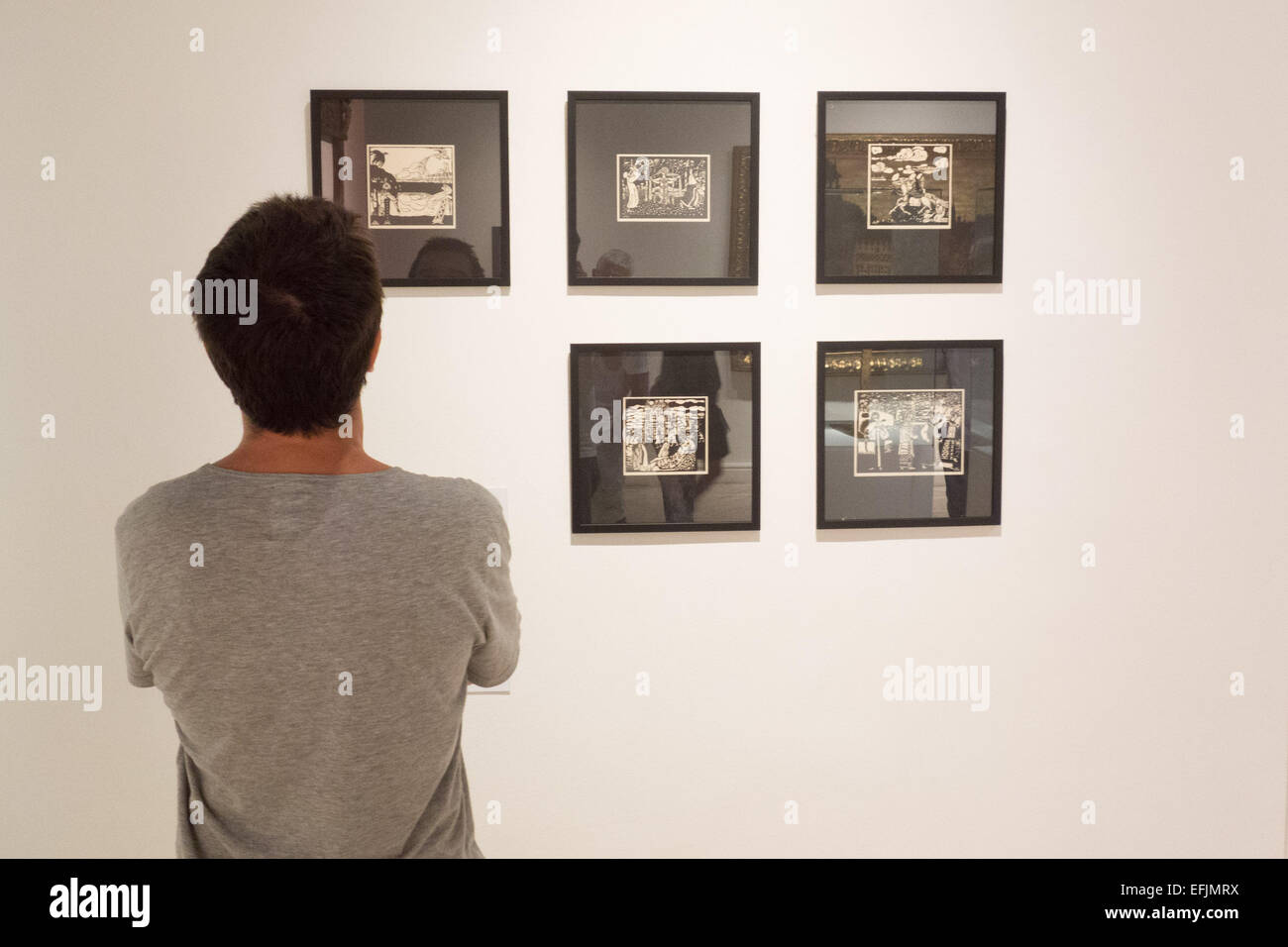 Rio De Janeiro, Brazil. 5th Feb, 2015. A man looks at the exhibited paintings by Wassily Kandinsky in Rio de Janeiro, - Stock Image