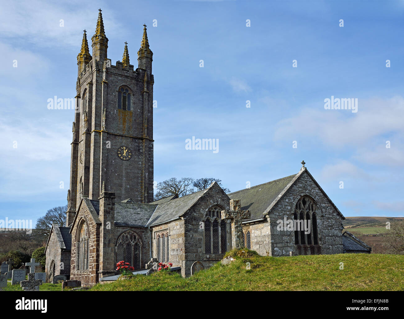 The Parish Church of St Pancras at Widecombe -in-the-Moor , Dartmoor National Park, Devon, UK. Stock Photo
