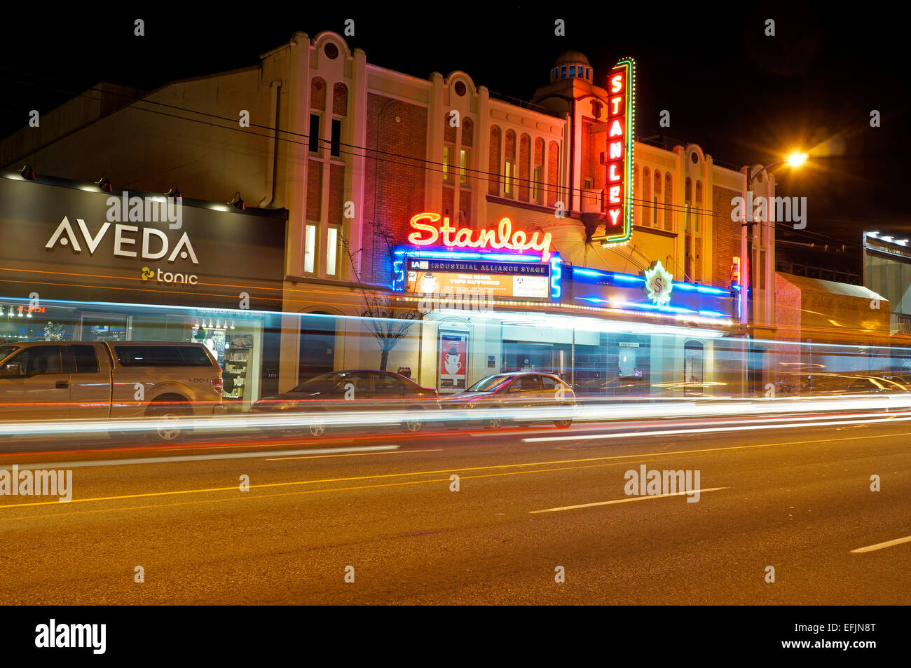 The Stanley Theatre on South Granville Street at night, Vancouver, BC, Canada - Stock Image