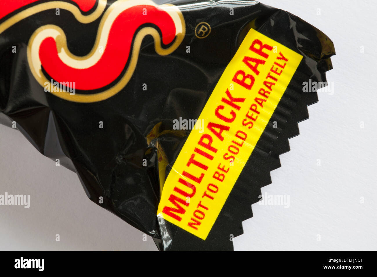 Multipack not to be sold separately details on Mars bar chocolate set on white background - Stock Image