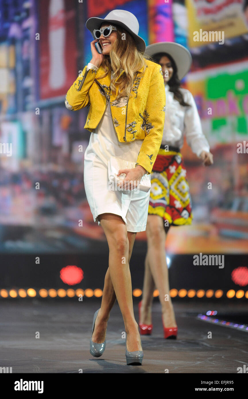 Models on the catwalk at the Clothes Show Live 2014, Birmingham NEC, UK. - Stock Image