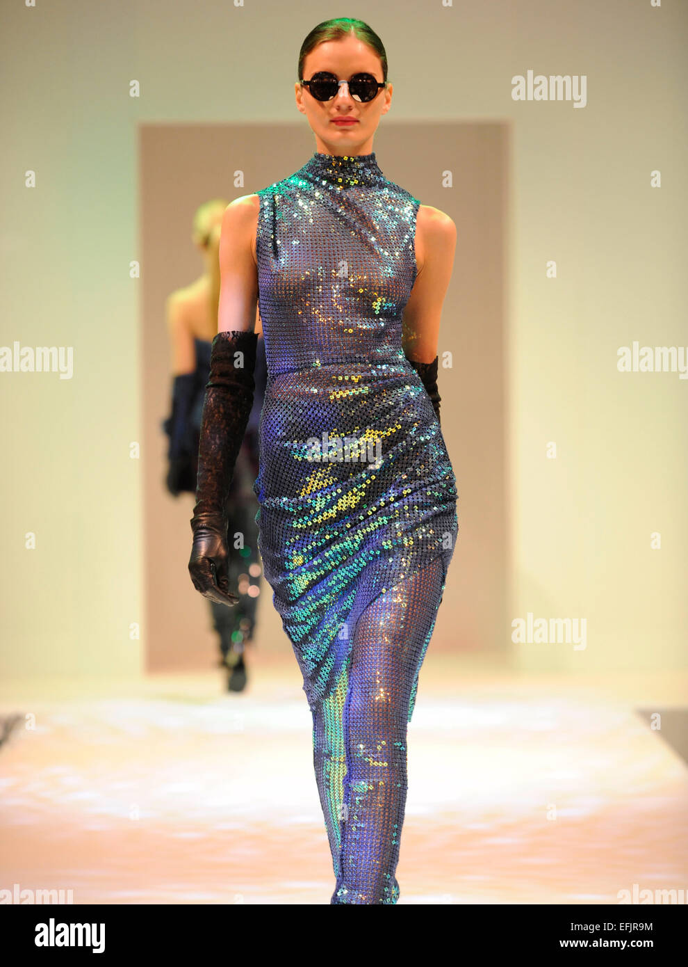 Fashion model on the catwalk during a Fyodor Golan fashion show - Stock Image