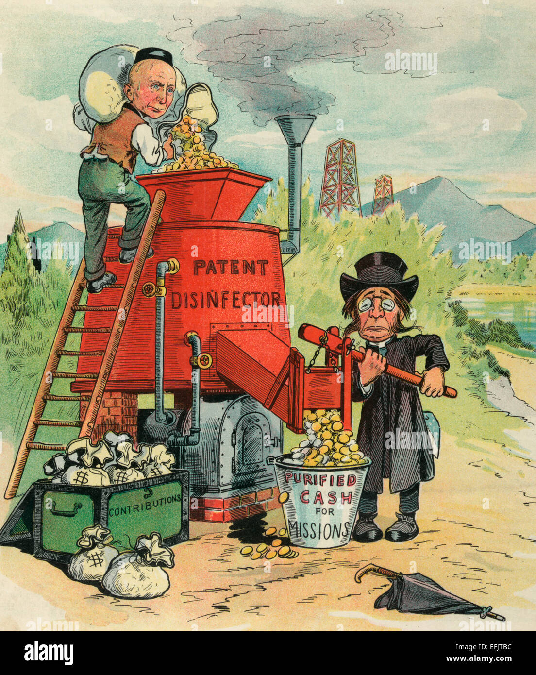 The cash purification plant - Illustration shows John D. Rockefeller standing on a ladder, dumping coins into a - Stock Image