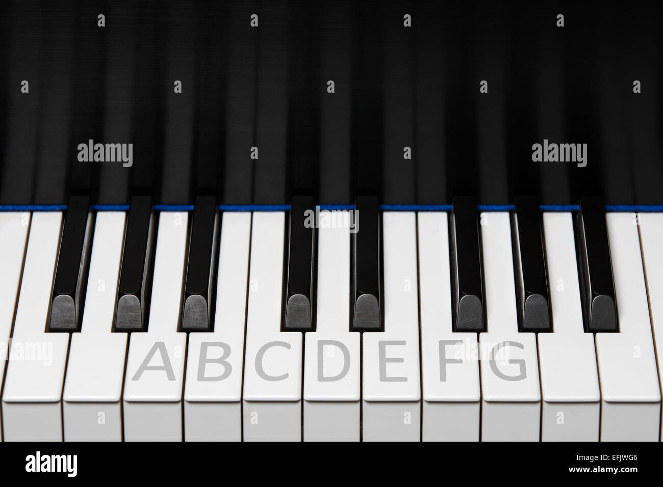 Section of piano keyboard showing one octave plus two extra keys on each end.  Notes labeled as with a student. - Stock Image